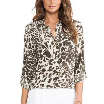 Diane von Furstenberg Lorelei Two Print Top in Olive