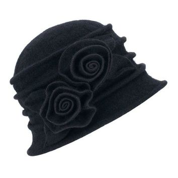 DCK4S2 Lawliet 1920s Gatsby Womens Flower Wool Warm Beanie Bow Hat Cap Crushable A287