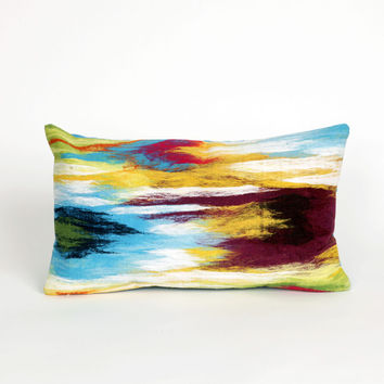 "Ikat Splash Multi 12"" x 20"" Indoor Outdoor Pillow"