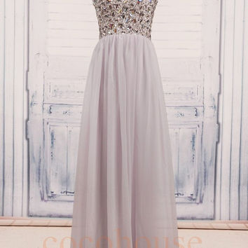 White Beaded Long Prom Dresses, Bridesmaid Dresses, Homecoming Dresses, Evening Dresses,Wedding Party Dresses, party Dresses,Formal Wear