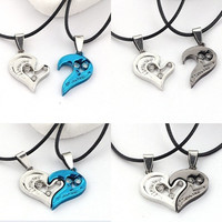 Fashion Men Women Black Blue Couple Lover I Love You Heart Shape Pendant Necklace Rope Chain Rhinestone Jewelry = 1929653316