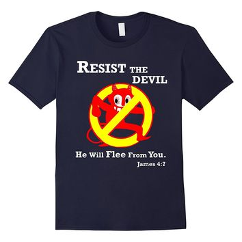 Resist the Devil Bible Verse Funny Christian T Shirt JVD