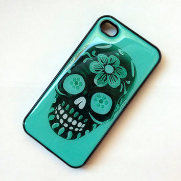 Black iphone 4 4s case Colorful Turquoise Dia de Los meurtos floral Sugar Skull Iphone case cover skin