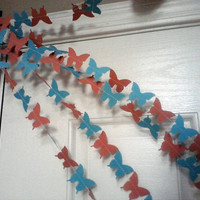 Butterfly Paper Garland Coral and Aqua Blue Available in Any Color Weddings Birthdays Baby or Bridal Showers Parties Receptions 10 Feet Long