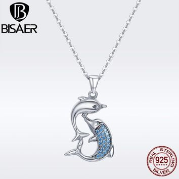 BISAER Valentine Day Gift 100% 925 Sterling Silver Dolphins Love Women Pendant Necklace Sterling Silver Necklace Jewelry GXN168