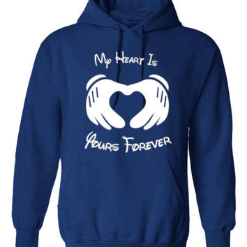 MY HEART IS YOURS FOREVER MICKEY MOUSE HOODIE PULLOVER JUMPER - BLUE