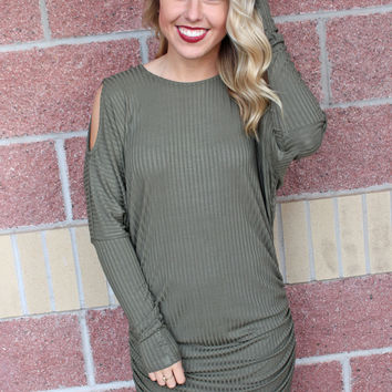 Cold shoulder ribbed dress-more colors