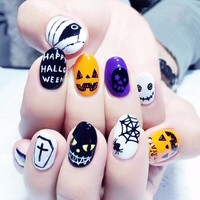 New 24 pieces Halloween Skull Pumpkin Style 3D Acrylic Classical Plastic Art  Fake false Sticker Nail Tips Free Glue Gel [N3073]
