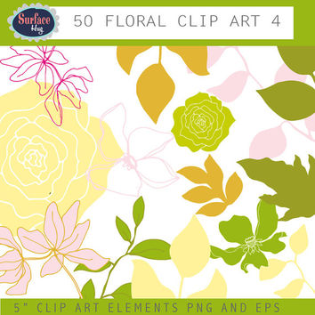 Floral Clip art FLOWERS and leaves. Flower images, Digital graphic, design elements, Flower clip art Commercial use Flower design hand drawn