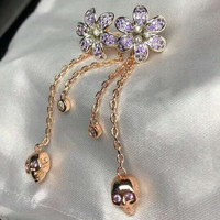 GUCCI 925 Silver Needle Fashion Women Luxury Purple Diamond Tassel Earrings Accessories Jewelry