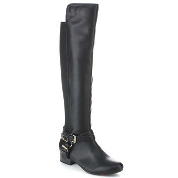 Criss Cross Two-tone Ankle Strap Side Zip Knee High Vegan Equestrian Pirate Boots