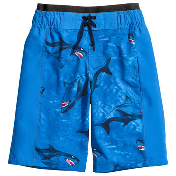 H&M - Patterned Swim Shorts - Blue - Kids