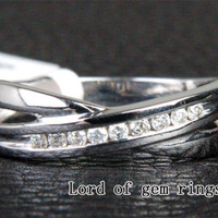 Unique Channel .15ct Diamonds Wedding Band Engagement Ring in 14K White Gold