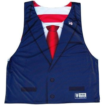 President Elect Suit and Flag Pin Lacrosse Reversible Pinnie