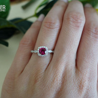 3/4 Carat Halo Wedding Set, Man Made Ruby & White Diamond Simulants, Art Deco Engagement Rings, Vintage, Bridal, Promise, Sterling Silver