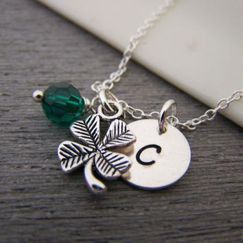 Four Leaf Clover Shamrock Lucky Swarovski Birthstone Initial Personalized  Sterling Silver Necklace   Gift for Her e911b9be91