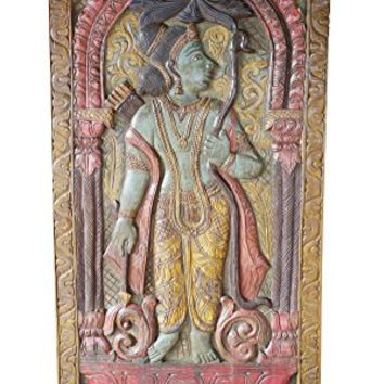 Vintage Bohemian Shri Ram Barn Door Carved Handcrafted Wall Sculpture, Wall Panel