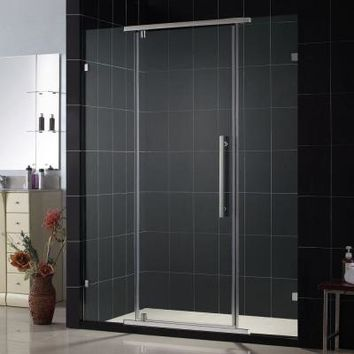 DreamLine Vitreo 46-1/8 in. x 76 in. Frameless Pivot Shower Door in Brushed Nickel-SHDR-21587610-04 at The Home Depot