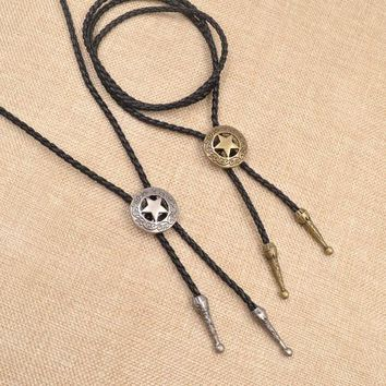 New American Neck Vintage Knitte Cowboy Star Bolo Tie Hollow Bola Tie Fashion Jewelry