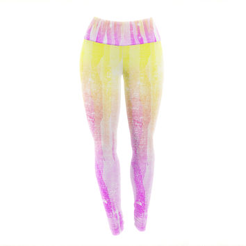 "Frederic Levy-Hadida ""Jungle Stripes Pink"" Yellow Painting Yoga Leggings"