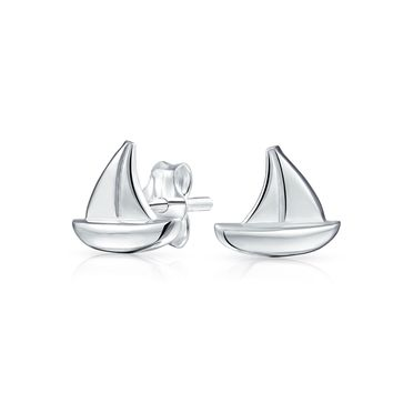 Nautical Boat Summer Sailor Sailboats Stud Earrings Sterling Silver