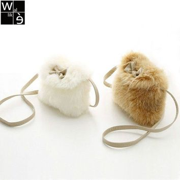 Wallike Hot Sale!Cute Girl Baby Toddler Faux Fur Bow-knot Child School Bag Kid Shoulder Bag Child Crossbody Bag Purse