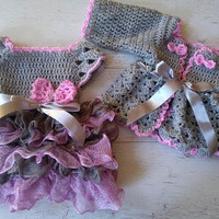 Bring home baby girl outfit dress and cardigan crochet  baby dress baby clothing Newborn  frock crochet bolero