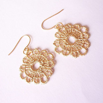 lace earrings, filigree earrings, gold plated earrings by SABOTAGEandCO