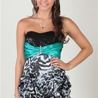 strapless dress with sequin bodice and animal print pick up skirt