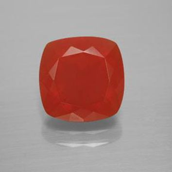 3.61 ct  Cushion-Cut Reddish Orange Fire Opal 10.5 x 10.5 mm
