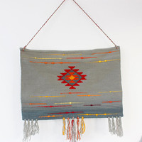 Large gray wall hanging with fringes, wool tapestry, large handwoven wool wall hanging - handwoven wall art tapestry made of pure wool