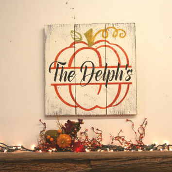 Fall Decor Halloween Decor Family Name Sign Pallet Sign Wood Wall Art Housewarming Gift Wedding Gift Bridal Shower Gift Shabby Chic Decor