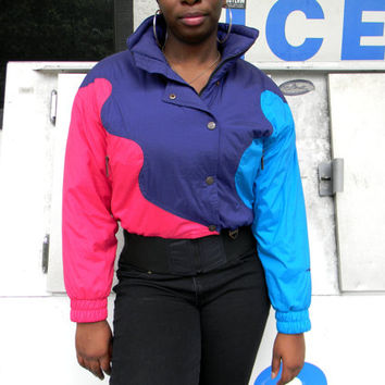 Vintage Ski Jacket - 90s Hot Pink, Navy Blue, and Deep Turquoise COLOR BLOCK Puffer Skiwear Jacket by Tyrolia Skiwear - Size 8 Medium M