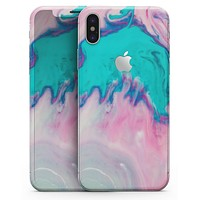 Marbleized Pink and Blue Paradise V432 - iPhone X Skin-Kit
