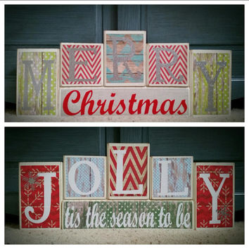 Merry Christmas / Tis the Season to Be Jolly Custom Reversible Wooden Block Set
