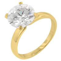 Timeless Gold Solitaire Engagement Ring, size : 07