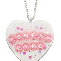 Lonely Girl Heart Pendant Necklace