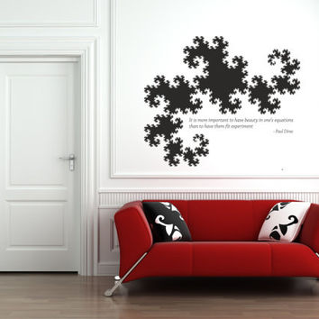 Science art - Paul Dirac quote on scientific beauty and a Dragon Curve fractal vinyl wall decal educational decor