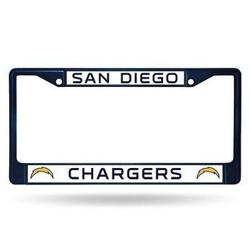 San Diego Chargers NFL Licensed Blue Painted Chrome Metal License Plate Frame