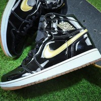 Air Jordan 1 Black Gold 555088-019 AJ1 Basketball Shoes - Best Online Sale