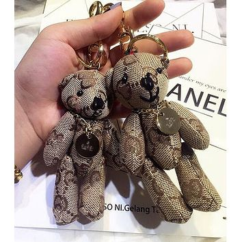 GUCCI Fashionable Lovely Cartoon Bear Bag Hanging Drop Car Key Chain Bag Accessories Lovers Gift