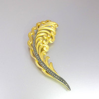 Judith Jack Brooch. Large Feather Leaf Brooch. Sterling Silver Matte Gold Marcasites. Judith Jack Gold Marcasite Jewelry.