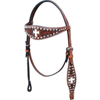 Bar H, Equine Inlay Cross Browband Headstall w/Sun Spots