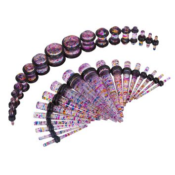 Bodyj4you 36PC Gauges Kit Ear Stretching 14G-00G Multicolor Glitter Acrylic Taper Plug Body Piercing