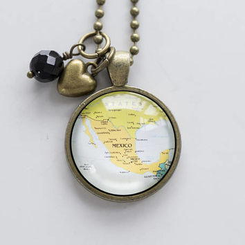 Map of Mexico Necklace - North America - Missions Jewelry - Custom Jewelry Pendant - Travel Necklace Adoption Necklace - Gift for Women Gulf