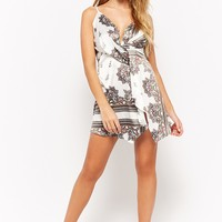 Satin Abstract Print Surplice Dress