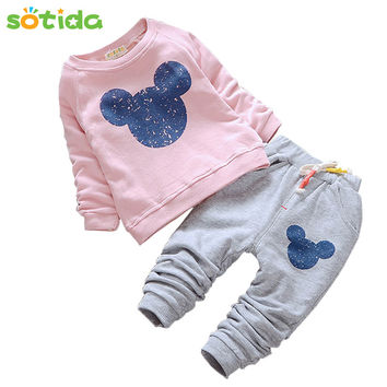 Fashion Baby Girls Clothes 2016 Autumn Baby Clothing Sets Cartoon Printing Sweatshirts+Casual Pants 2Pcs for Baby Kids Clothes