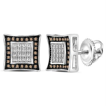 Sterling Silver Mens Round Brown Color Enhanced Diamond Square Stud Earrings 1-20 Cttw