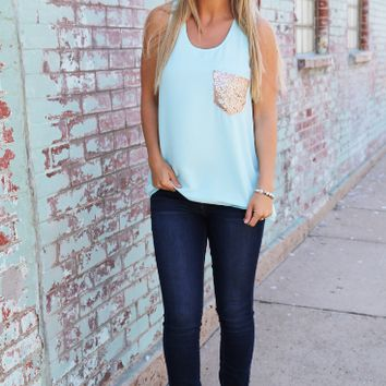 Round Neck Sequined Pocket  Chiffon Tank Top
