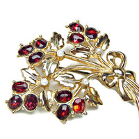 Rhinestone Brooch Ruby Red Flower Bouquet with Pearls